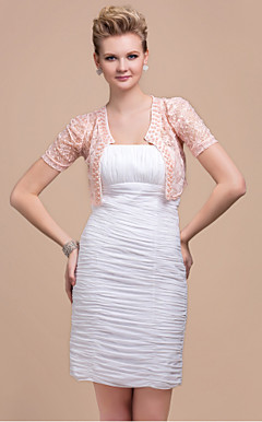 Short Sleeve Lace Jacket With Beaded Trim (More Colors)