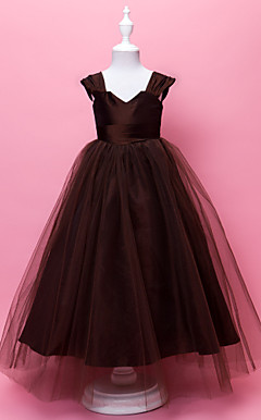 Ball Gown V-neck Floor-length Tulle And Taffeta Flower Gril Dress