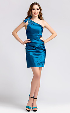 Sheath/Column One Shoulder Short/Mini Stretch Satin Bridesmaid Dress