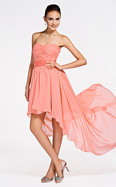 a-lijn strapless asymmetrische chiffon bruidsmeisje jurk