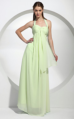 Sheath/ Column Halter Floor-Length Chiffon Over Mading Bridesmaid/ Wedding Party Dress