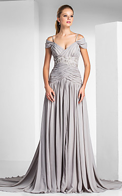 A-line Off-the-shoulder Court Train Chiffon Evening Dress