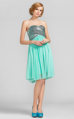 A-line Sweetheart Knee-length Stripes Tulle Cocktail Dress