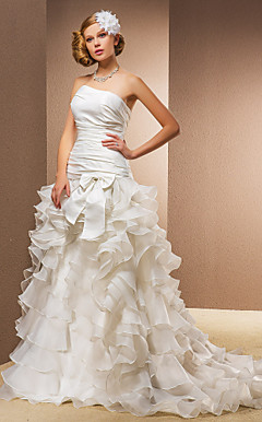 A-line Princess Strapless Sweep/Brush Train Wedding Dress