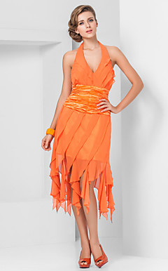 Beautiful Sheath/Column V-neck Halter Asymmetrical Chiffon Stretch Satin Cocktail Dresses