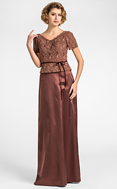 Sheath/Column V-neck Floor-length Lace And Stretch Satin Mother of the Bride Dress With A Wrap