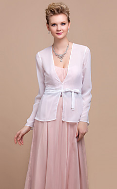 Delicate Long Sleeve Chiffon Special Occasion Jacket/Wedding Wrap(More Colors)