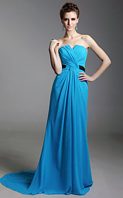 Sheath/Column Strapless Sweep/Brush Train Chiffon Evening Dress inspired by Julia Louis-Dreyfus at Emmy Award