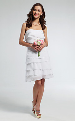 Sheath/ Column Bateau Short/ Mini Chiffon Wedding Dress