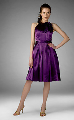 Sheath/ Column Jewel Knee-length Stretch Satin Bridesmaid/ Wedding Party/ Homecoming Dress