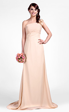 Sheath/Column One Shoulder Sweep/Brush Train Chiffon Bridesmaid Dress