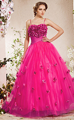 A-line Spaghetti Straps  Floor-length Satin  Tulle Evening Dress