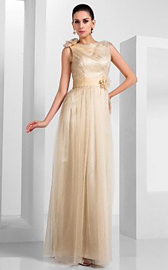 Sheath/Column Bateau Floor-length Tulle Evening Dress