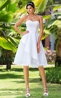 A-line Sweetheart Knee-length Satin And Tulle Wedding Dress