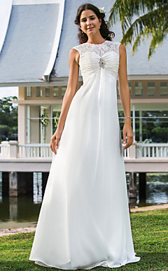 Sheath/Column Jewel Floor-length Chiffon Wedding Dress