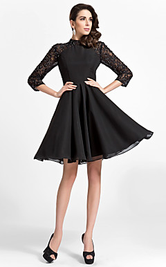 A-line High-neck Knee-length Satin And Lace Cocktail Dress