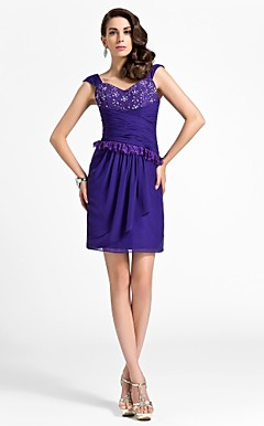 Sheath/Column Sweetheart Short/Mini Chiffon Cocktail Dress