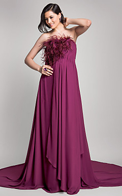 A-line Strapless Court Train Chiffon Maternity Evening Dress