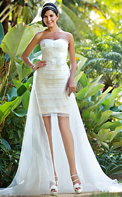 Sheath/Column Sweetheart Asymmetrical Organza Wedding Dress With Removable Train