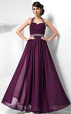 Sheath/Column Halter Floor-length Chiffon Evening Dress
