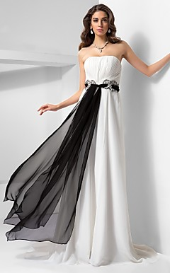 A-line Strapless Sweep/Brush Train Satin Chiffon Evening Dress