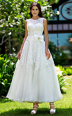 A-line Jewel Ankle-length Lace Wedding Dress