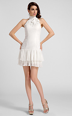 A-line High-neck Short/Mini Chiffon Cocktail Dress