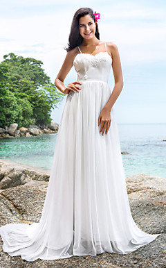 A-line Sweep/Brush Train Chiffon Wedding Dress