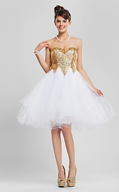 Ball Gown Sweetheart Knee-length Sequined And Tulle Cocktail Dress
