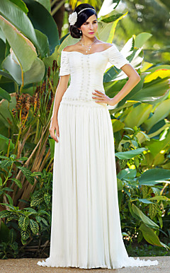 Sheath/Column Off-the-shoulder Sweep/Brush Train Chiffon Wedding Dress
