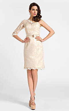 Sheath/Column One Shouler Knee-length Lace And Satin Cocktail Dress