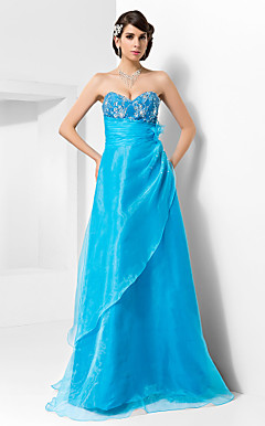 A-line Sweetheart Floor-length Lace Amd Organza Evening Dress