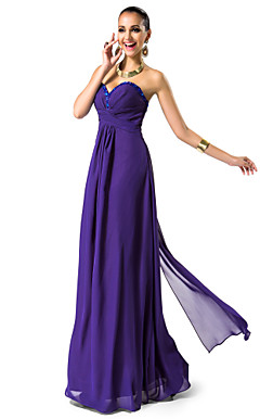 Sheath/Column Sweetheart Floor-length Chiffon Evening Dress