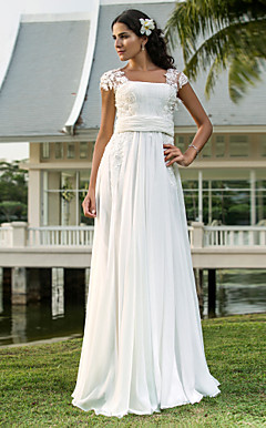 Sheath/Column Square Floor-length Chiffon Wedding Dress