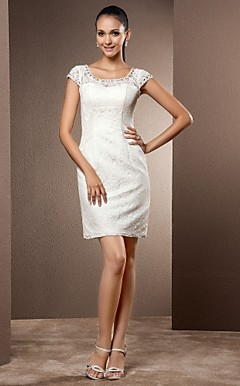 Sheath/Column Scoop Short/Mini Lace Wedding Dress