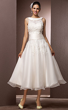 A-line Bateau Tea-length Organza Wedding Dress With A Wrap