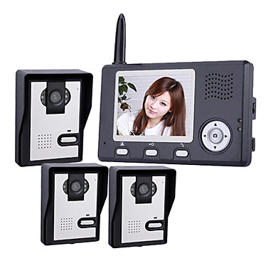  2.4GHz Wireless 3.5 Inch Monitors Video Door Phone with 3 Camera