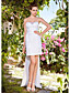 Sheath/Column Strapless Sweetheart Short/Mini Satin Lace Wedding Dress