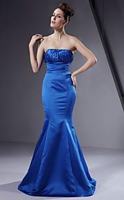 Trumpet / Mermaid Strapless Floor-length Satin Bridesmaid/ Wedding Party Dress