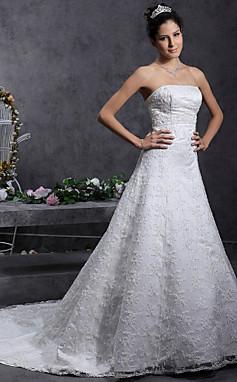 الجملة الجملة a-line/princess قطار المحكمة حمالة الدانتيل أكثر من الساتان فستان الزفاف