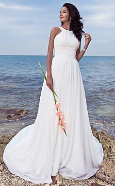 الجملة الجملة [XmasSale]فستان الزفاف غمد العمود فرشاة تمشيط قطار Ruched والأشرطة الشيفون جوهرة