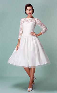 الجملة الجملة [XmasSale]سطر باتو بطول الركبة فستان زفاف من الساتان