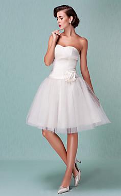 الجملة الجملة [XmasSale]الكرة ثوب حبيبته بطول الركبة فستان الزفاف مع 3D الأزهار