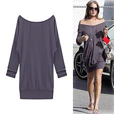venta al por mayor estilo de Lindsay Lohan / mangas largas fuera de hombro vestido / vestidos de mujer (ff-1801bd052-0736)
