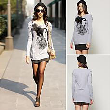 venta al por mayor retrato extraíble plumas cuentas broche impresa t-shirt de manga larga y mujeres de la t-shirts (ss-f-cctb1189002)
