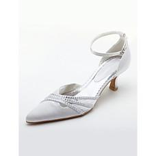 vente en gros top en satin de qualité supérieure du talon haut fermé orteils avec des chaussures de mariage strass mariée (a0605w)