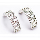 Serling Silver Simulated Diamond Hoop Earrings (ME004) (Start From 24 Units)-Free Shipping