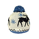 SAMII Jacquard Deer Crochet Knit Beanie Hat-Blue (0026) (Start From 20 Units)-Free Shipping
