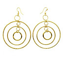 Gold Metal Circle Drop Hook Earrings 5.9cm x 5.9cm (MH027)(Start From 30 Units)
