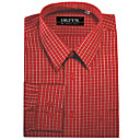 Top Grade Men's Long Sleeve Gingham Wrinkle Dress Shirt (QRJ007) -Free Shipping by Air Mail